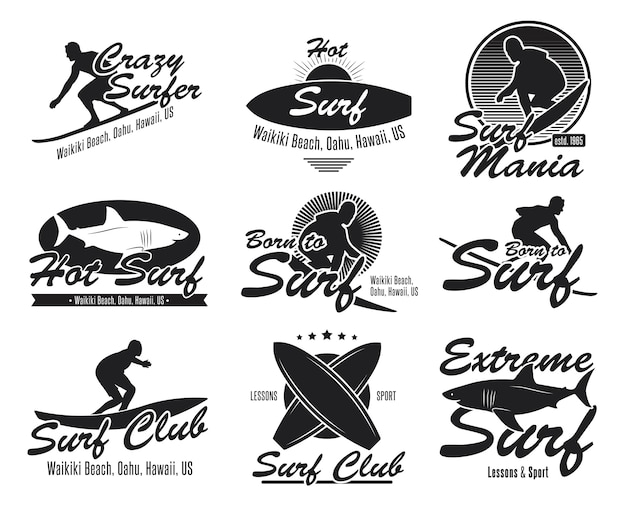 Different surfing club flat emblems set. black logo or signs with surfboard, surfer, shark, wave vector illustration collection. summer, travel, hawaii and design