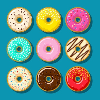 다른 달콤한 도넛. 귀엽고 밝은 도넛 세트.