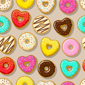 Различные сладкие пончики. симпатичный и яркий набор пончиков.