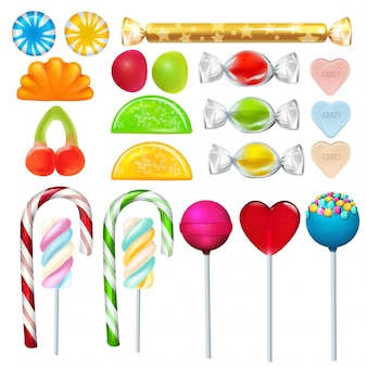 Different sweets and candies from sugar.