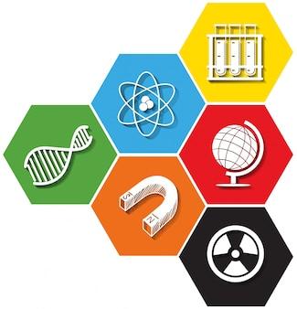 Different symbol of sciene on hexagon