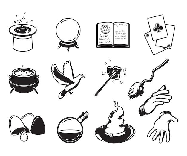 マジシャン、錬金術師、魔法使いのさまざまなシンボル。モノクロのシルエットは白に分離します。マジシャンのトリックとパフォーマンスのシンボルのイラスト