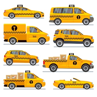 Different taxi types flat vector collection. automobile taxi for passenger, illustration taxi pickup