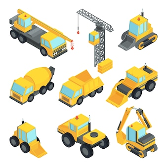 Different technic for construction. isometric cars