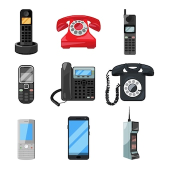 Different telephones and smartphones.