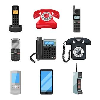 Different telephones and smartphones.