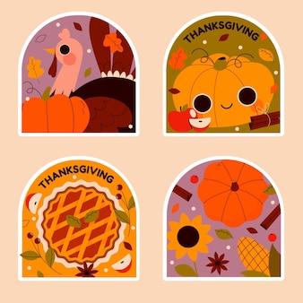 さまざまな感謝祭のステッカーコレクション