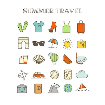 Different thin line color icons vector set. summer travel