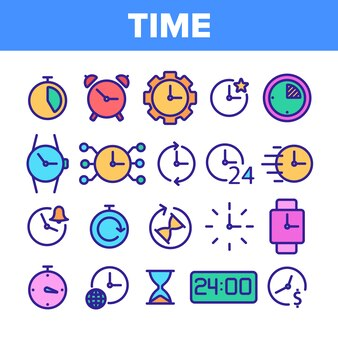 Different time clock vector icons set