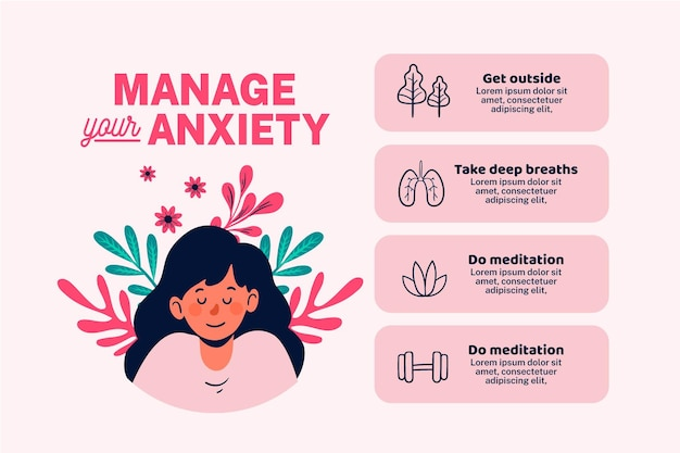 Different tips for anxiety infographic