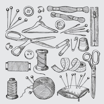 Different tools for sewing workshop. vector pictures in hand drawn style