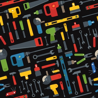 Different tools vector seamless pattern