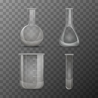 Different transparent vials and flasks for chemicals experiments