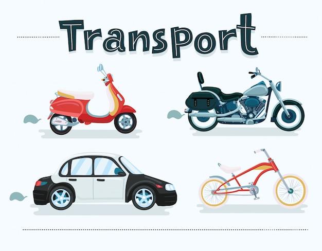 さまざまな風景、都市、自然に設定されたさまざまな輸送車両。 2種類の自転車、バン、車、オートバイ、スクーター、イラスト付き