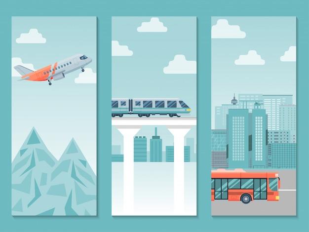 Различный плакат дела пути перемещения, поезд поездки страны, иллюстрация самолета и шины. люди путешествуют по миру.
