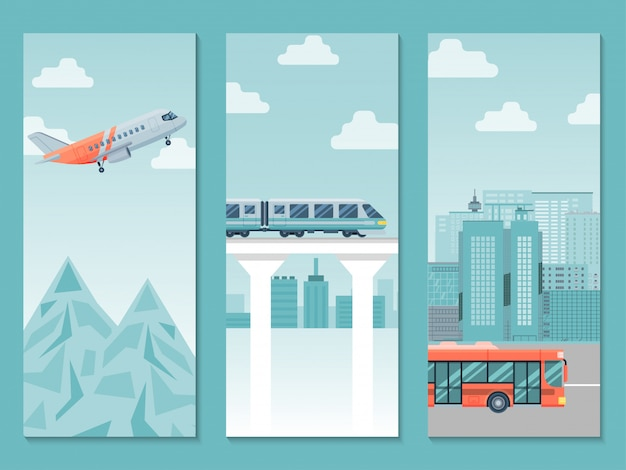 Different travel way business poster, country trip train, airplane and bus   illustration. people journey around world.
