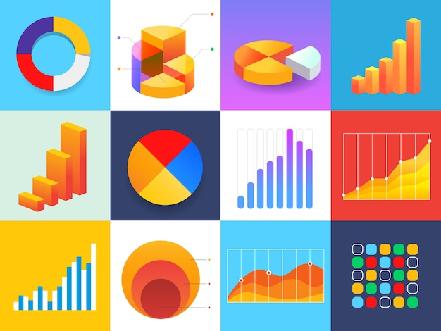Different type bright color element of business infographics design