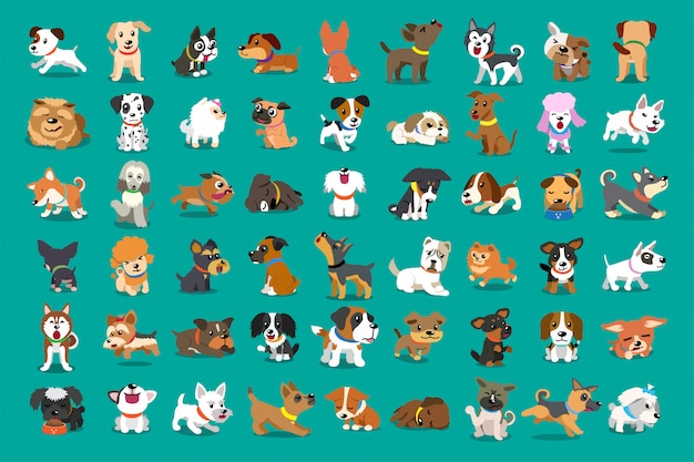Different type of  cartoon dogs