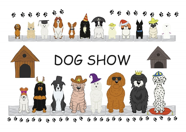Different type of cartoon dogs.