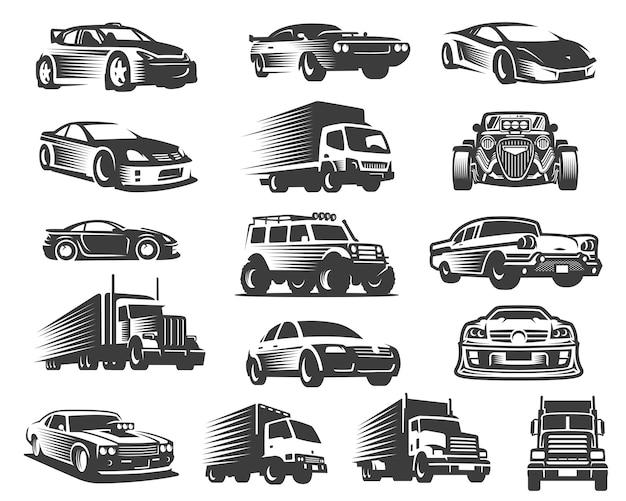 Набор различных типов автомобилей, коллекция символов автомобилей, набор иконок автомобилей