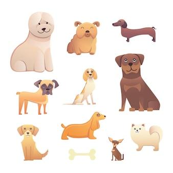 さまざまな種類の漫画の犬。幸せな犬セットベクトルイラスト。