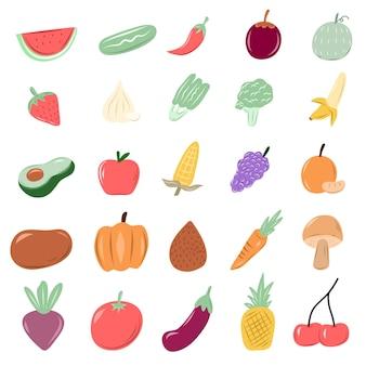 さまざまな種類のフルーツ落書きスタイル