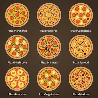 Набор различных типов плоских иконок пиццы. аппетитная пицца с разными начинками