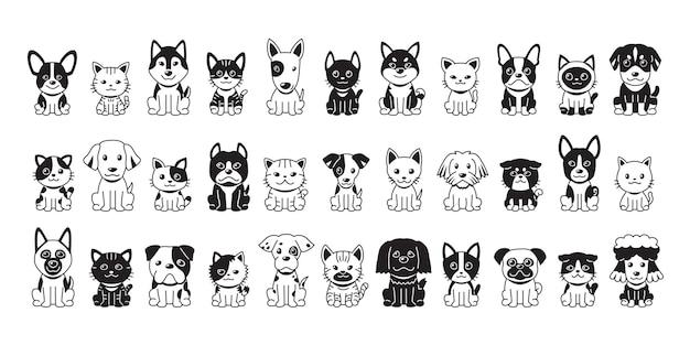 디자인을 위한 다양한 유형의 벡터 만화 고양이와 개.