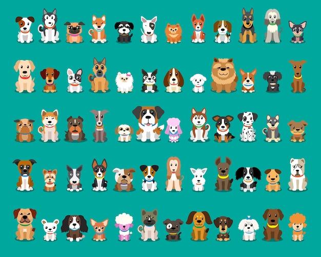 Различные типы векторных мультяшных собак