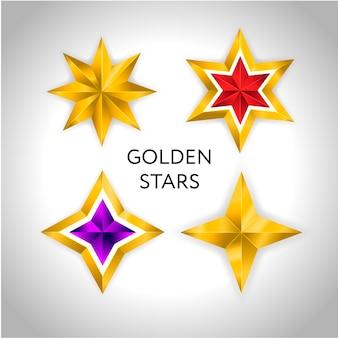 さまざまな種類と形の金の星