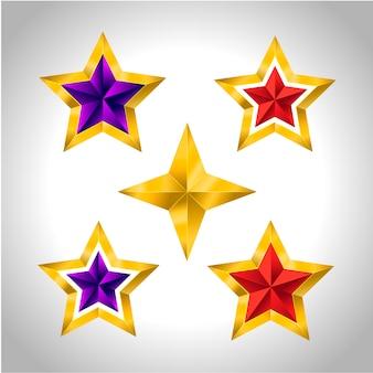 金の星のさまざまな種類と形態。