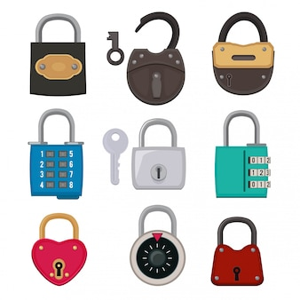 Different types of antique padlocks isolate on white. safeguard concept illustrations