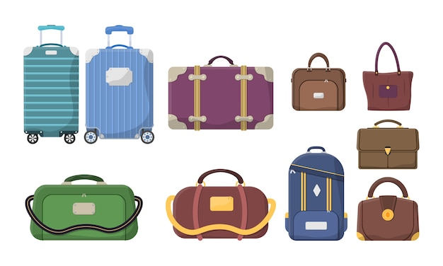 Different types of baggage. plastic, metal suitcases, backpacks, luggage for journey vacation tourism shopping. large and small suitcase, hand luggage, carrying animals, box, handbag. .