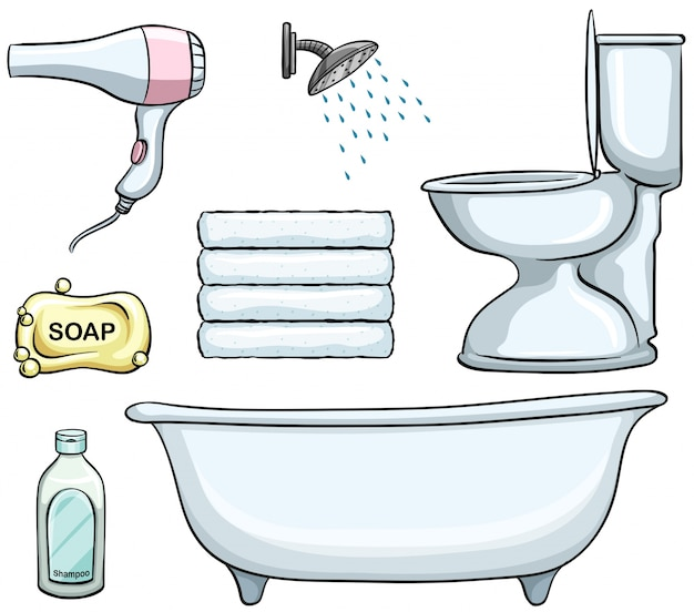 Different types of bathroom objects