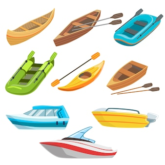 Different types of boats colorful set