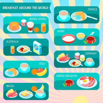 Different types of breakfast in the world infographic set vector illustration