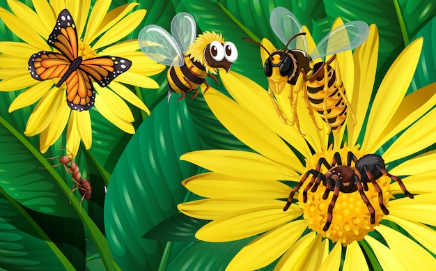 Different types of bugs flying around yellow flowers
