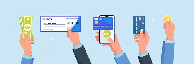 Different types of business payments. businessman holds debit or credit card, banking cheque with signature, dollar money, coins. phone with mobile banking app in hand. online cashless payment or cash