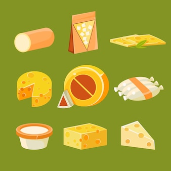 Different types of cheese, flat illustration set