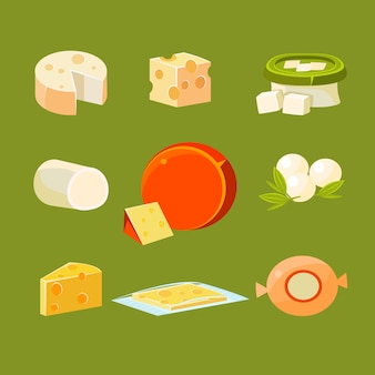 Different types of cheese illustration set