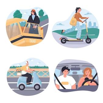 Different types of city transport concept scenes set