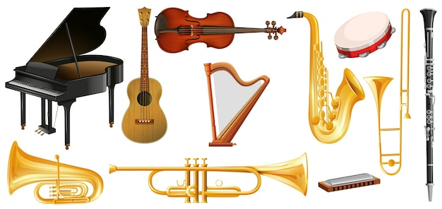 Different types of classical music instruments
