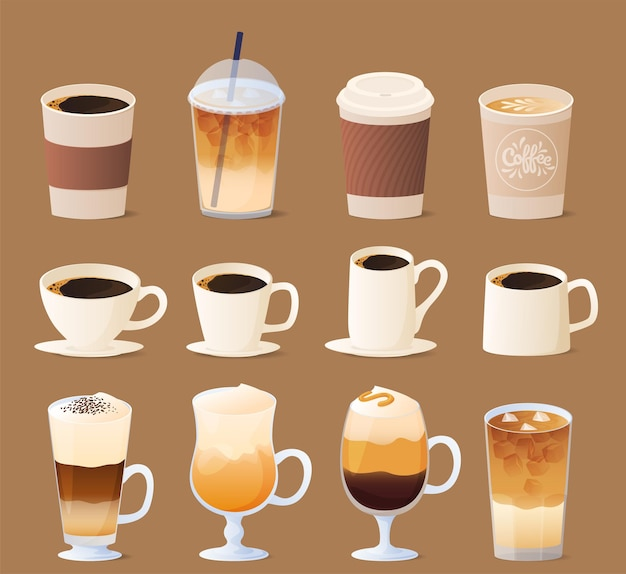 Different types of coffee. coffee menu collection.