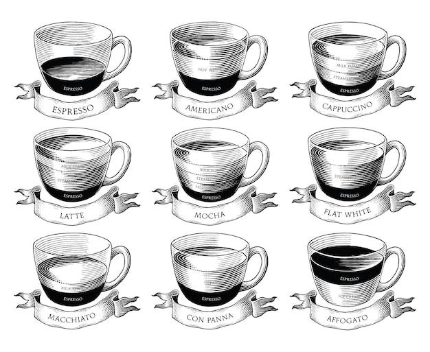 Diversi tipi di formula caffetteria disegnati a mano in stile incisione vintage