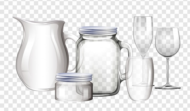 Different types of containers made of glass