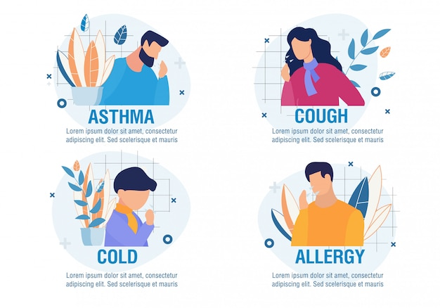 Different types of cough cartoon sick people set