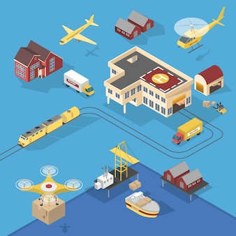 Different types of delivery services. ship and truck, aircraft and railway. logistic worldwide network.  isometric  illustration