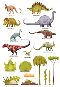 Different types of dinosaurs in cartoon style with name of class and flora landscape elements isolated illustration