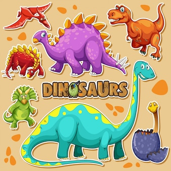 Different types of dinosaurs on a poster