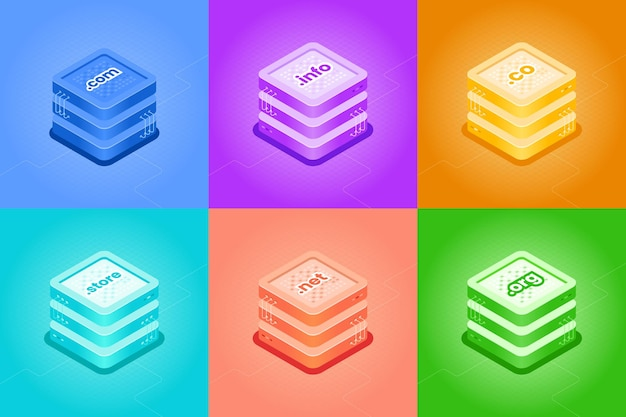Different types of domain and hosting isometric illustration